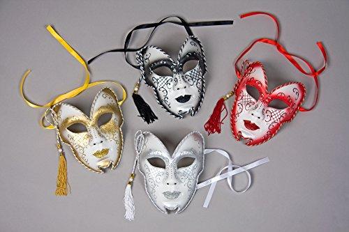 Venezianische Maske Glittermaske Pierrot Harlekin schwarz, rot oder gold (gold)
