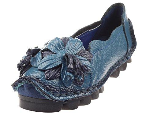 Vogstyle Damen Frühjahr/Sommer Weinlese Blumen Handgemachte Lederschuhe Flats Art 1 Blau EU38.5-39/CH40