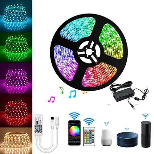 Arotelicht LED Streifen Set Wifi RGB Strip Kit, Smart RGB LED Strip Lichtleiste Arbeitet mit Alexa, IFTTT, Google Home Smartphone, 12V 5M 5050SMD 300 LED Bänder Lichterkette mit Netzteil & Controller
