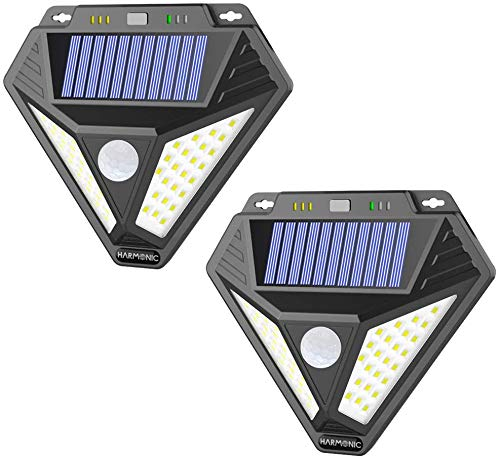 Harmonic Solar Lights Outdoor,Motion Sensor Light with 3 Optional Modes, 270° Wide Angle, IP65 Waterproof Wireless Wall Lights, Solar Powered Security Lights for Front Door, Yard, Garage, Deck