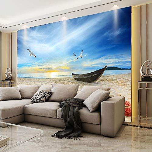 Behang, behang, blauwe hemel, witte wolken, meubels, Coconut Beach, natuurlandschap behang, behang, woonkamer, tv-achterwanden, Gro fotobehang 3d effect behang behang, bos vintage 200 x 140 cm.