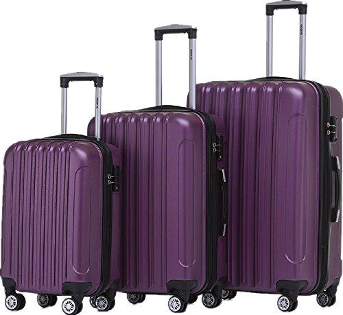 BEIBYE TSA Schloß Zwillingsrollen 2050 Hartschale Trolley Koffer Reisekoffer in M-L-XL-Set in 12 Farben (Violett, Kofferset+TSA Schloß)
