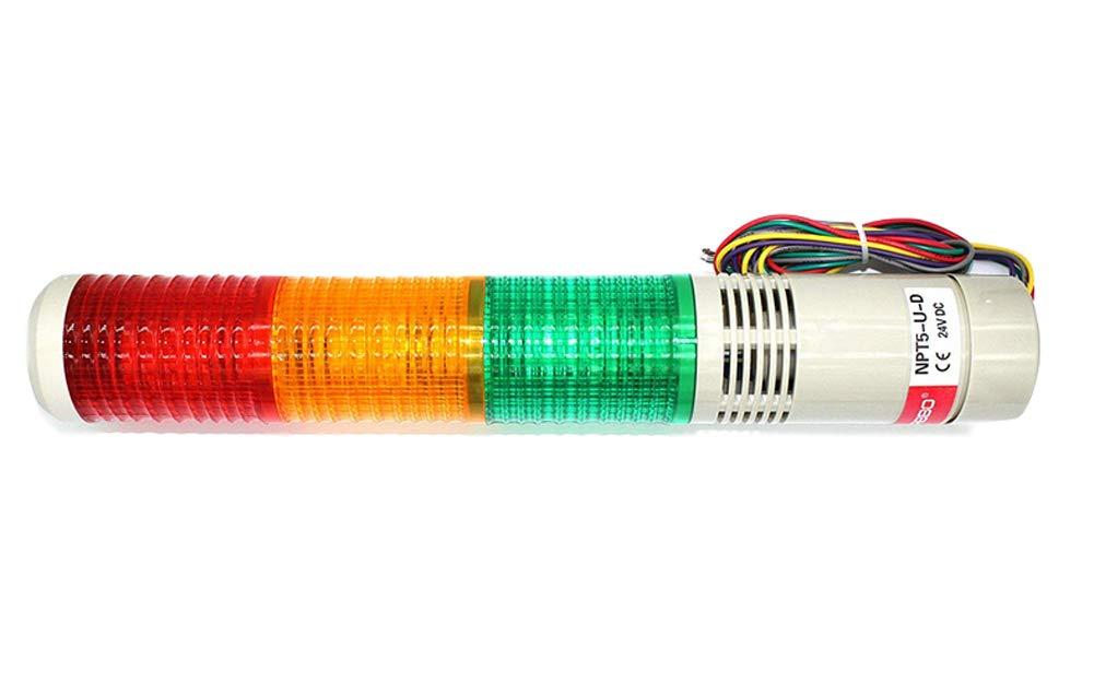 Baomain Industrial Signal Light Column LED Alarm Round Tower Light Indicator Flash Light Warning light Buzzer Red Green Yellow DC 24V