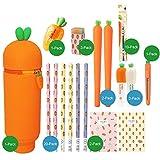Cuadernos Notebook zanahoria lindo creativo de los efectos de 42 piezas Paquete de regalo de silicona caja de lápiz de la pluma del gel del borrador de lápiz Diario Los estudiantes Uso blocs de notas