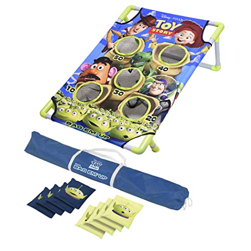 GoSports Disney Pixar Toy Story Bag-Em-Up Game Set Includes 8 Alien Bean Bags with Portable Carrying Case Blue