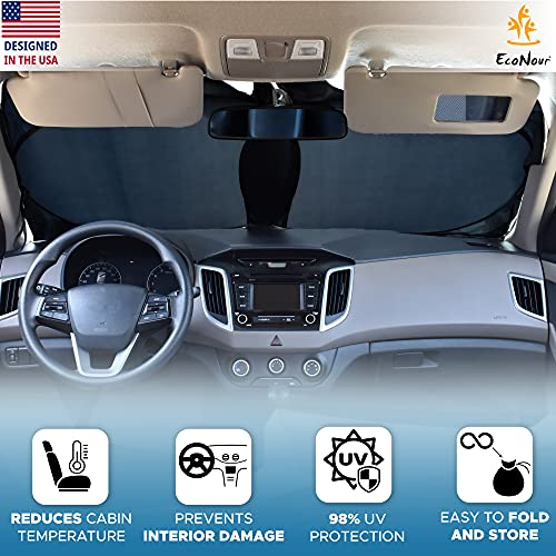 EcoNour Car Windshield Sun Shade with Storage Pouch | Durable 240T Material Car Sun Visor for UV Rays and Sun Heat Protection | Car Interior Accessories for Sun Heat | Standard (64 inches x 32 inches)