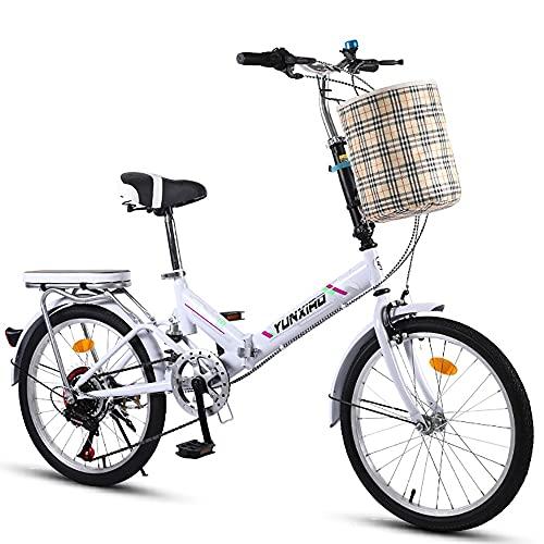 DODOBD Bicicletta Pieghevole 16/20 Pollici, Bicicletta con Luce a LED, Bici Compatta per Adulti Mini Bici Pieghevole Leggera per Lavorare Bicicletta da Scuola per Uomo Donna