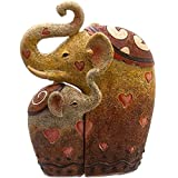 PAIR of HUGGING ELEPHANTS - Resin Ornament - Set of 2 - 11.5cm by Ethically Sourced