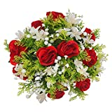Herran Rose Floral Décoration Décoration De La Maison Fleur en Plastique Artificielle Bouquet Artificiel Artificiel Faux Fleurs