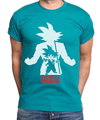 Sambosa Over Goku T-Shirt pour Homme Goku Dragon Master Son Ball Vegeta Turtle Roshi DB, Farbe2:Petrol;Größe2:XXL