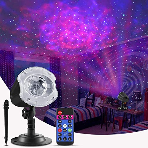 ECOWHO Christmas Laser Light Projector Outdoor, 10 Colors Changing 2 in 1 Galaxy Projector Lights Outdoor Ocean Wave LED Night Light Projector with Remote RGBW Waterproof Landscape Lights for Bedroom