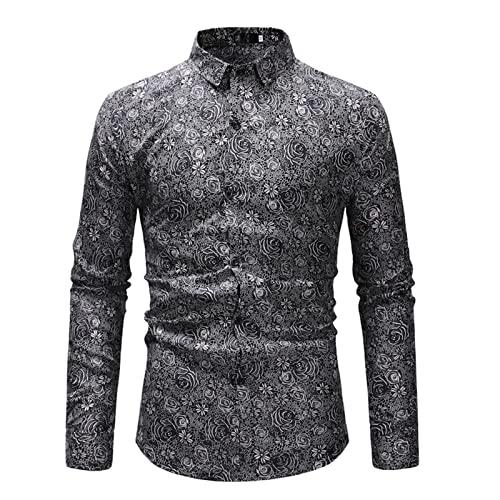 Ocuhiger Camisa De Vestir Clásica De Moda para Hombres Camisa De Negocios Informal Ajustada Regular Ajustada con Botones Blusas De Manga Larga Blusa Estampado Floral Gris