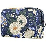 Hermosas flores blancas Oxford tela maquillaje bolsa monedero monedero organizador multifuncional hecho a mano bolsa de tela para las mujeres