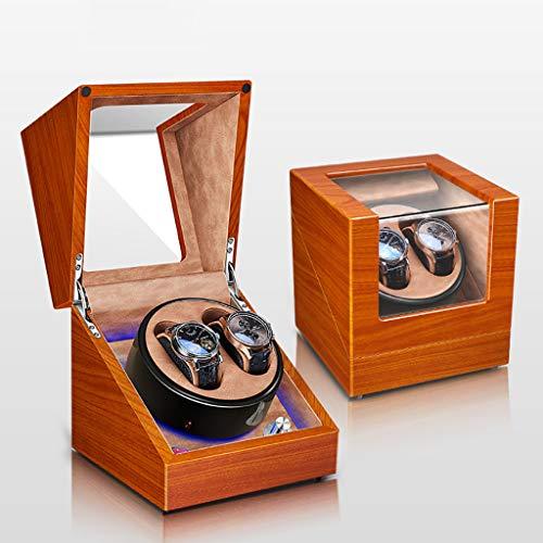 Caja Giratoria para Relojes Caja de enrollador de reloj automático, estuche de madera de lujo, caja de almacenamiento, pintura de piano, 5 modos de rotación, motor silencioso, luz ambiental de LED, fo