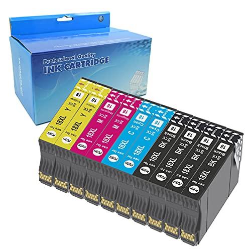 Teng 10X 18XL Cartuchos de Tinta Compatible con Epson 18 18XL para Epson Expression Home XP-205 XP-212 XP-215 XP-225 XP-302 XP-305 XP-312 XP-315 XP-322 XP-325 XP-402 XP-405