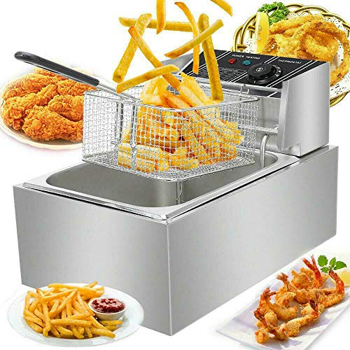 DYRABREST 6L Deep Fryers,Electric Deep Fryer with Basket,Handle,Stainless Steel Cover and Residue Board,Temperature Control