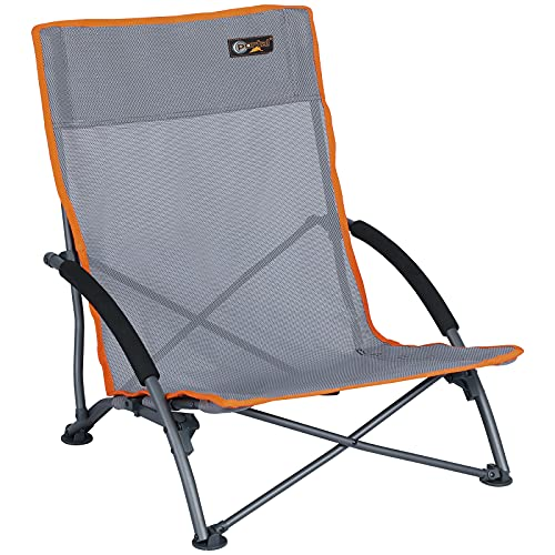 PORTAL Folding Camping Chair Outdoor Low Lightweight Beach Chair Mesh Back Padded Armrest Collapsible with Carry Bag Grey