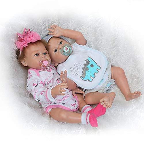 Pinky Reborn Poupées Reborn Bébé 20 Pouce 50cm Reborn Poupées Tout Le Corps en Silicone Réal Souple Vinyle Réaliste Fille et Garçon Bébé Reborn Fille Née Jouet Cadeau (Twins)