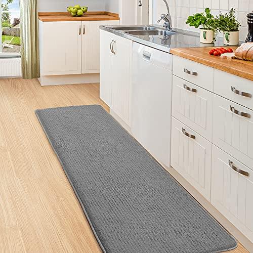 Color&Geometry Tapis de Cuisine 44x150cm, Tapis Cuisine absorbants antidérapants, Chemin de Cuisine lavables, Tapis de Sol en Fibre de Haute qualité adaptés pour Hall, Cuisine, Entrée (Gris)