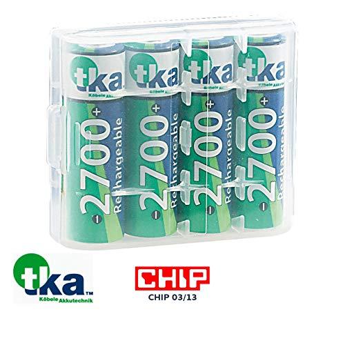 tka Köbele Akkutechnik AA Akku: 4er-Set NiMH-Akkus Typ AA/Mignon, 2.700 mAh, mit Aufbewahrungs-Box (Akku Mignon)