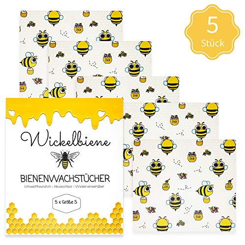 Wickelbiene Bienenwachstücher 5er Set Größe S Bienenwachs Wachs-Papier Bienenwachstuch Bee Biene aus Wachs Jojobaöl Baumwolle Alternative Zero Waste Wachstuch
