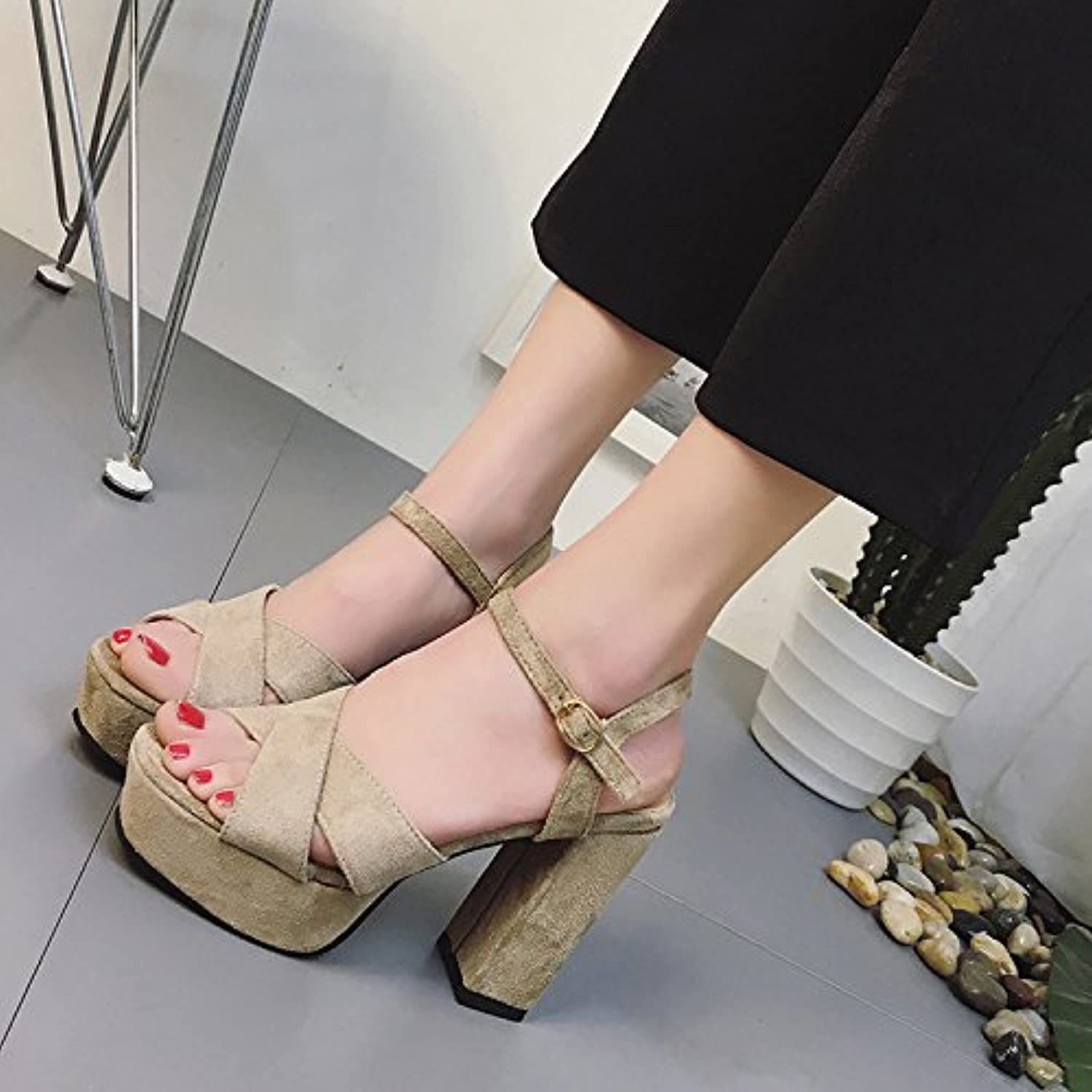 DNJKSA Waterproof Platform High Heel Sandals Summer 2019 New European and American Fishmouth shoes Sexy Slim Women's shoes with Thick Heels