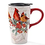 Minigift MN1005 Travel Cup, Tea Coffee Mug Beautiful Ceramic Cups with Lid,Handmade Milk Mug 16oz for Women Men Kids-Red Birds