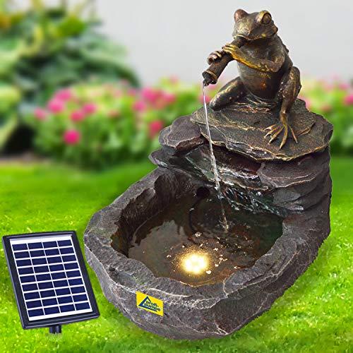 profi-pumpe.de Solar Gartenbrunnen Brunnen Solarbrunnen Zierbrunnen Wasserfall Gartenleuchte Teichpumpe für Terrasse, Balkon, mit Pumpen, mit Liion-Akku & Led-Licht (DURSTIGER Frosch)