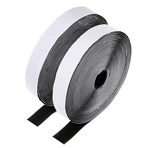 Sumnacon 面ファスナー 両面テープ付き 粘着強い オスメスセット 業務用 家庭用 工業用 幅2.5CM 長10M (黒)