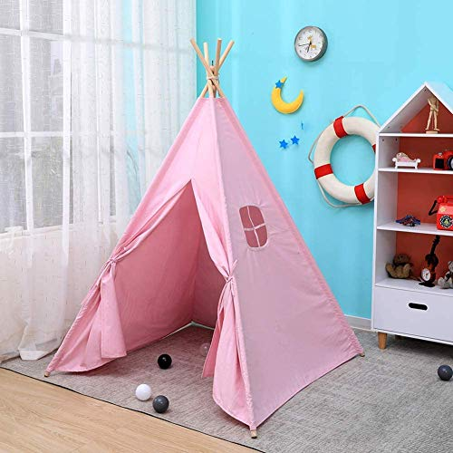 Hironpal Children's, ,Girls' or Boys' Play Tent, Teepee Tent,Kids' Wigwam, Made from Canvas Fabric and Pine Wood Poles for Indoor or Outdoor with Floor Mat Lace (pink-1)