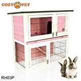 COZY PET Pink Rabbit Hutch/Hide/Run Guinea Pig House Ferret Cage Rabbit Hutches in Pink RH03P. (We do not ship to Northern Ireland, Scottish Highlands & Islands, Channel Islands, IOM or IOW.)