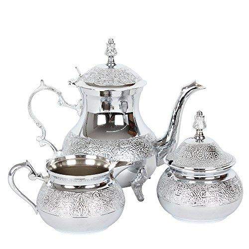 albena shop 73-127 Zahir 3 teiliges orientalisches Teeservice Teekanne Zuckerdose Milchkännchen