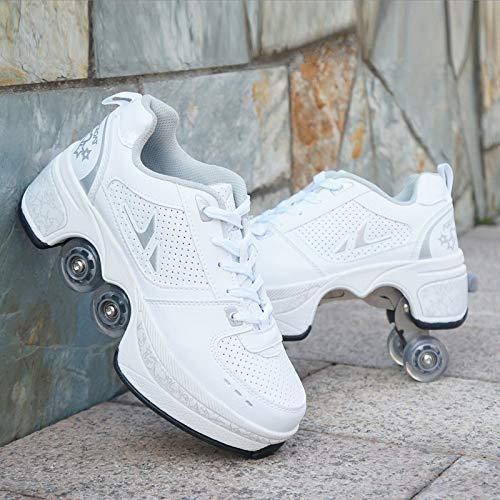 SDFXCV Zapatos Multiusos 2 En 1 Hombres Mujeres Patines con Ruedas Deformables Zapatillas De Deporte Casuales Patines para Caminar Patinetas De Cuatro Ruedas Runaway,Silver-39