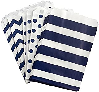 Navy Blue and White Paper Treat Sacks - Chevron Stripe Polka Dot Favor Bags - 5.5 x 7.5 Inches - 48 Pack