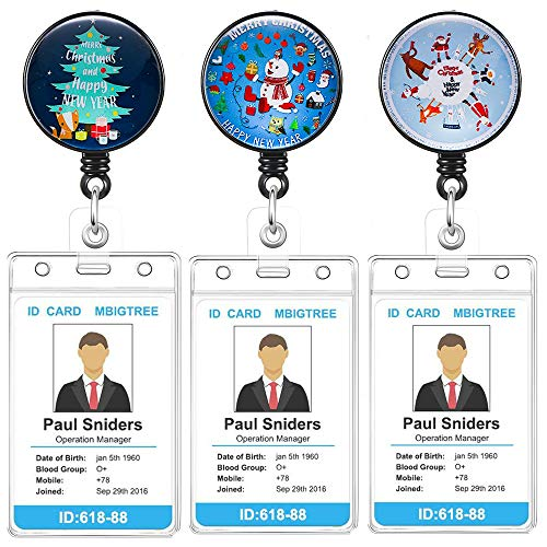 3Pack Retractable Badge Holder with Alligator Clip On ID Card Holders for Office Worker Doctor Nurse with Vertical Style Clear ID Card Holders (3Pack-Christmas 1)