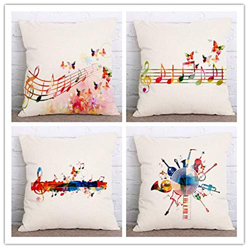 N / A Cushion Covers Fashion music symbol staves musical notes Square Decorative Throw Pillow Case pack of 4 Pillowcases Art Decorative For Home Office Couch Livingroom,Super Soft(40x40cm/16x16inch)