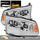 AlphaRex PRO-Series For 09-18 Ram 1500/10-18 Ram 2500/3500 Chrome Top and Bottom DRL/Switchback Sequential Signal Dual Projector Headlights
