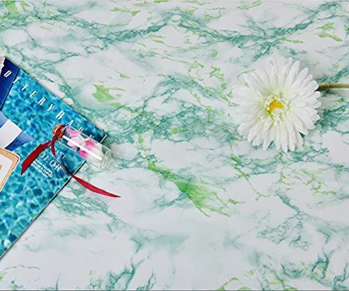 HMPSZ Mármol Papel Adhesivo para Muebles Pegatina Blanco/Verde, Antiestático Resistete a Humedad y Mancha De Grasa 60x300CM, para Decoracion Muebles Cocina Armario Encimera
