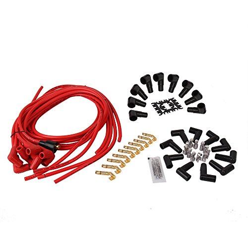 big-autoparts Universal 8mm Core recto, Stock, 90Grado botas Bujía RFI supresión Super Stock Rojo conjuntos de Cables de encendido