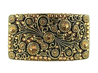Swarovski rhinestone Crystal Belt Buckle Antique/Brass Rectangle Floral Engraved Buckle