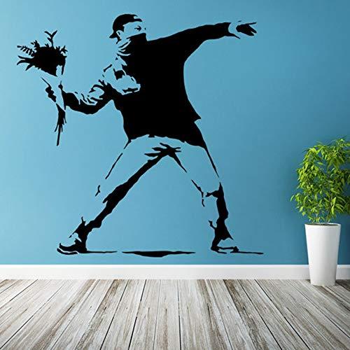 Banks Street Art Wall Decal Thrower Street Graffiti Vinyl Decal extraíble Banks Style Mural Decoración para el hogar 100x100CM