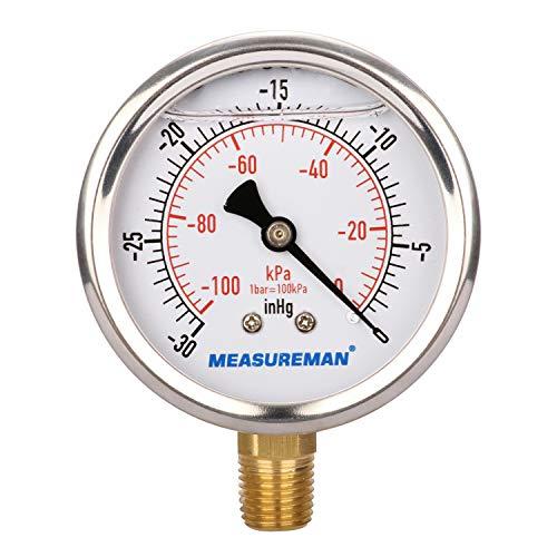 MEASUREMAN 2-1/2' dial, 1/4'NPT Lower, Glycerin Filled, Stainless Steel case, Brass Inside, 30inHg/-100kpa-0