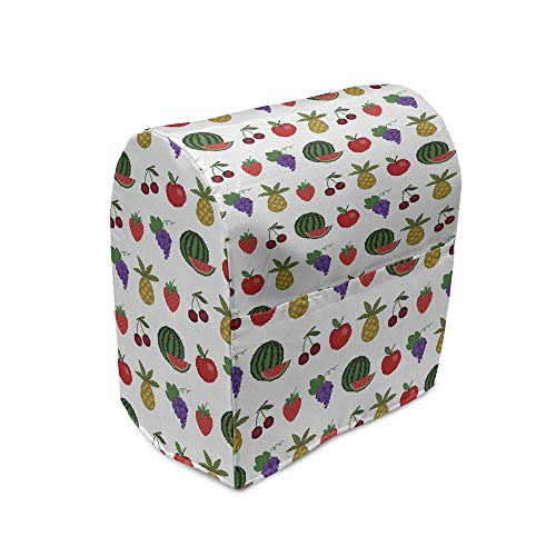 Ambesonne Fruits Stand Mixer Cover, Pixel Casino Art Cherry Grapes Pineapple Watermelon, Kitchen Appliance Organizer Bag Cover with Pockets, 5 Quarts, Multicolor