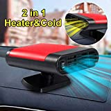 PURATEN Car Heater Defroster, 60 Seconds Fast Heating Defrost Defogger Demister Vehicle Heat Cooling Fan, 12V 150W with Folding Handle, Heating Quickly, Air Purify (Red-1)