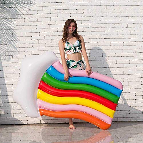 QWE Pool Toys Inflatable Rainbow Float Inflatable Swimming Ring Cloud Rides Ride Water Lounge Chair Hammock Inflatable Float Drain on Toys 180cmx110cm/White Color : White, Size : 180cm JHKK