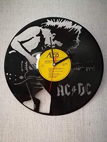 Wanduhr aus Vinyl Schallplattenuhr mit AC/DC Motiv upcycling design Uhr Wand-deko vintage-Uhr Wand-Dekoration retro-Uhr