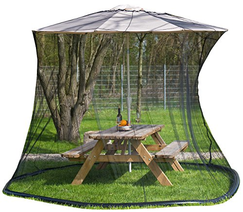infactory Sonnenschirmnetz: Moskitonetz für Sonnenschirme, 330 x 250 cm, 220 Mesh, schwarz (Mückennetz für Sonnenschirm)