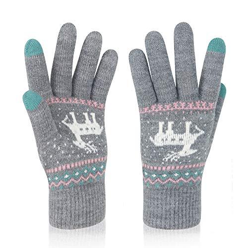 VENI MASEE Frauen Schöne Candy Farbe Keep Warm Strickwolle Touchscreen Handschuhe - Grau
