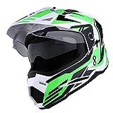1Storm Dual Sport Motorcycle Motocross Off Road Full Face Helmet Dual Visor Storm Force Green, Size Medium