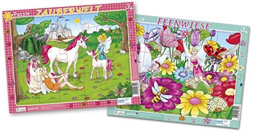 paletti Rahmenpuzzle Einhörner und Feen Elfen 2er Set, je 15 Teile für Prinzessin Lernspiel